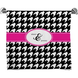 Houndstooth w/Pink Accent Full Print Bath Towel (Personalized)