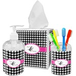 Houndstooth w/Pink Accent Bathroom Accessories Set (Personalized)
