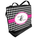 Houndstooth w/Pink Accent Beach Tote Bag (Personalized)