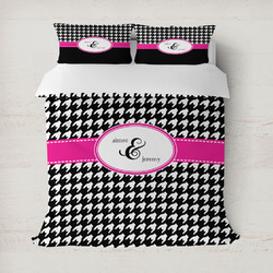 Houndstooth w/Pink Accent Duvet Cover (Personalized)