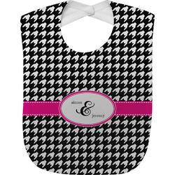 Houndstooth w/Pink Accent Baby Bib (Personalized)