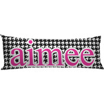 Houndstooth w/Pink Accent Body Pillow Case (Personalized)