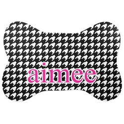 Houndstooth w/Pink Accent Bone Shaped Dog Food Mat (Personalized)