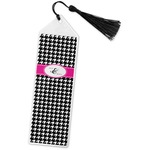 Houndstooth w/Pink Accent Book Mark w/Tassel (Personalized)