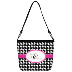 Houndstooth w/Pink Accent Bucket Bag w/ Genuine Leather Trim (Personalized)