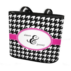 Houndstooth w/Pink Accent Bucket Tote w/ Genuine Leather Trim (Personalized)