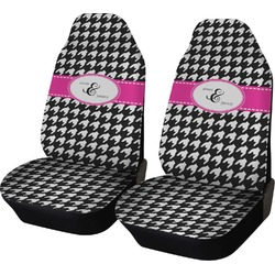 Houndstooth w/Pink Accent Car Seat Covers (Set of Two) (Personalized)