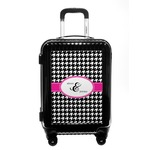 Houndstooth w/Pink Accent Carry On Hard Shell Suitcase (Personalized)