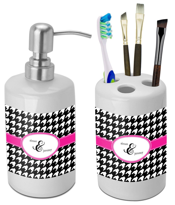 Houndstooth w/Pink Accent Bathroom Accessories Set (Ceramic ...