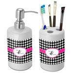 Houndstooth w/Pink Accent Bathroom Accessories Set (Ceramic) (Personalized)