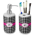 Houndstooth w/Pink Accent Ceramic Bathroom Accessories Set (Personalized)