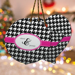 Houndstooth w/Pink Accent Ceramic Ornament w/ Couple's Names