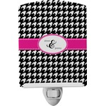 Houndstooth w/Pink Accent Ceramic Night Light (Personalized)