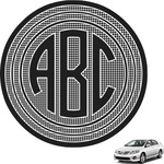 Houndstooth w/Pink Accent Circle Monogram Car Decal (Personalized)