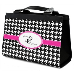 Houndstooth w/Pink Accent Classic Tote Purse w/ Leather Trim (Personalized)