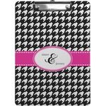 Houndstooth w/Pink Accent Clipboard (Personalized)