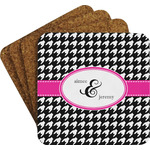 Houndstooth w/Pink Accent Coaster Set w/ Stand (Personalized)