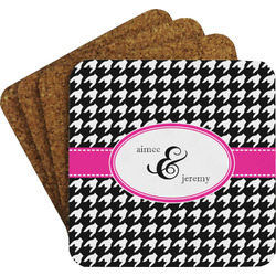Houndstooth w/Pink Accent Coaster Set (Personalized)