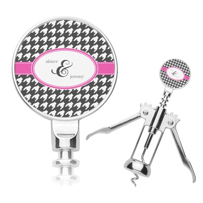 Houndstooth w/Pink Accent Corkscrew (Personalized)