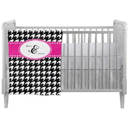 Houndstooth w/Pink Accent Crib Comforter / Quilt (Personalized)