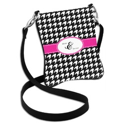 Houndstooth w/Pink Accent Cross Body Bag - 2 Sizes (Personalized)