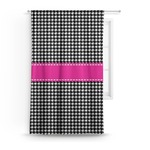 Houndstooth w/Pink Accent Curtain (Personalized)