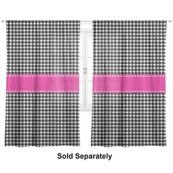 "Houndstooth w/Pink Accent Curtains - 56""x80"" Panels - Lined (2 Panels Per Set) (Personalized)"