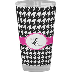 Houndstooth w/Pink Accent Drinking / Pint Glass (Personalized)