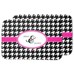 Houndstooth w/Pink Accent Dish Drying Mat (Personalized)