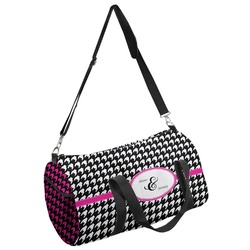 Houndstooth w/Pink Accent Duffel Bag - Multiple Sizes (Personalized)