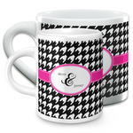 Houndstooth w/Pink Accent Espresso Cups (Personalized)