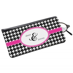 Houndstooth w/Pink Accent Genuine Leather Eyeglass Case (Personalized)