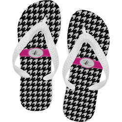 Houndstooth w/Pink Accent Flip Flops (Personalized)