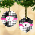 Houndstooth w/Pink Accent Flat Glass Ornament w/ Couple's Names