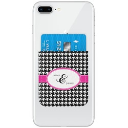 Houndstooth w/Pink Accent Genuine Leather Adhesive Phone Wallet (Personalized)