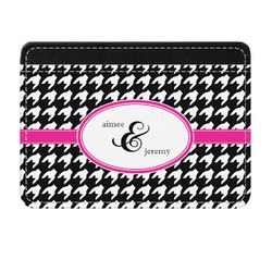 Houndstooth w/Pink Accent Genuine Leather Front Pocket Wallet (Personalized)