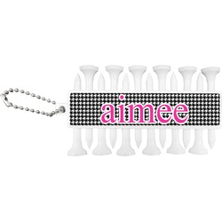 Houndstooth w/Pink Accent Golf Tees & Ball Markers Set (Personalized)
