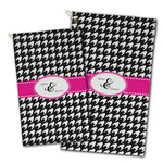 Houndstooth w/Pink Accent Golf Towel - Full Print w/ Couple's Names