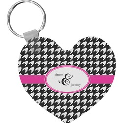Houndstooth w/Pink Accent Heart Keychain (Personalized)