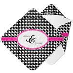 Houndstooth w/Pink Accent Hooded Baby Towel (Personalized)