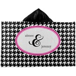 Houndstooth w/Pink Accent Kids Hooded Towel (Personalized)