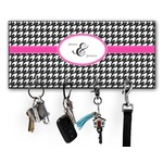 Houndstooth w/Pink Accent Key Hanger w/ 4 Hooks w/ Couple's Names