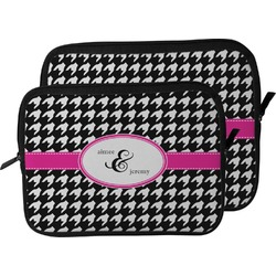 Houndstooth w/Pink Accent Laptop Sleeve / Case (Personalized)