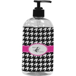 Houndstooth w/Pink Accent Plastic Soap / Lotion Dispenser (16 oz - Large) (Personalized)