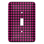Houndstooth w/Pink Accent Light Switch Covers (Personalized)
