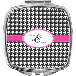 Houndstooth w/Pink Accent Compact Makeup Mirror (Personalized)