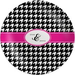 Houndstooth w/Pink Accent Melamine Plate (Personalized)