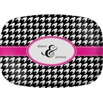Houndstooth w/Pink Accent Melamine Platter (Personalized)