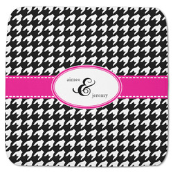 """Houndstooth w/Pink Accent Memory Foam Bath Mat - 48""""x48"""" (Personalized)"""