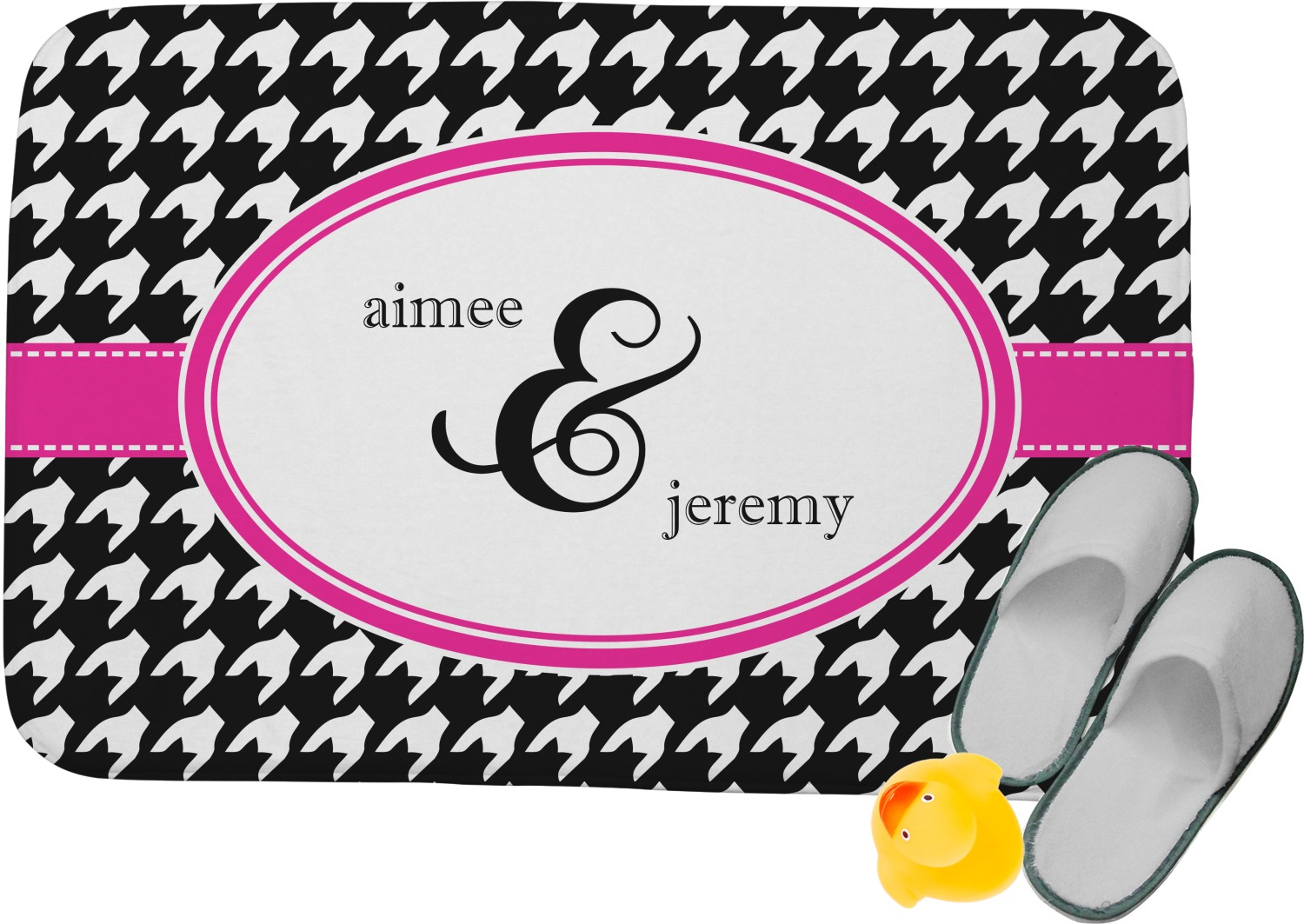 Houndstooth w/Pink Accent Memory Foam Bath Mat (Personalized ...